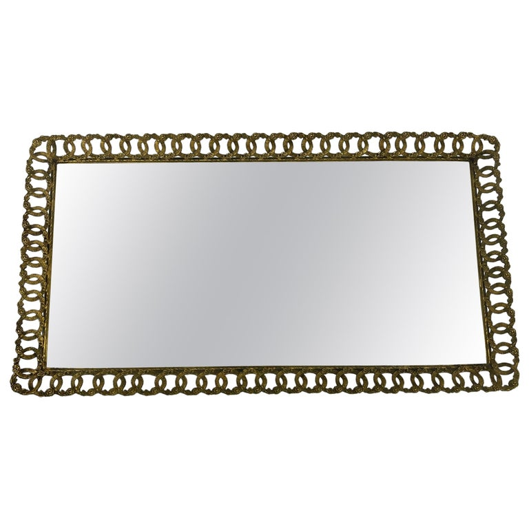 Hollywood Regency Gilded Mirrored Serving Tray with Filigree Design For Sale