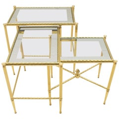 Hollywood Regency Gilded Nesting Tables, 1960s, Italy