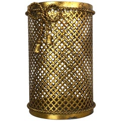 Hollywood Regency Gilded Waste Paper Basket by Li Puma, Firenze, Italy, 1950s