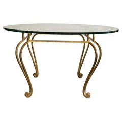 Hollywood Regency Gilded Wrought Iron Round Center Table with Thick Glass Top
