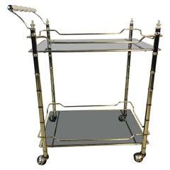 Hollywood Regency Gilt Bamboo Style Bar Cart