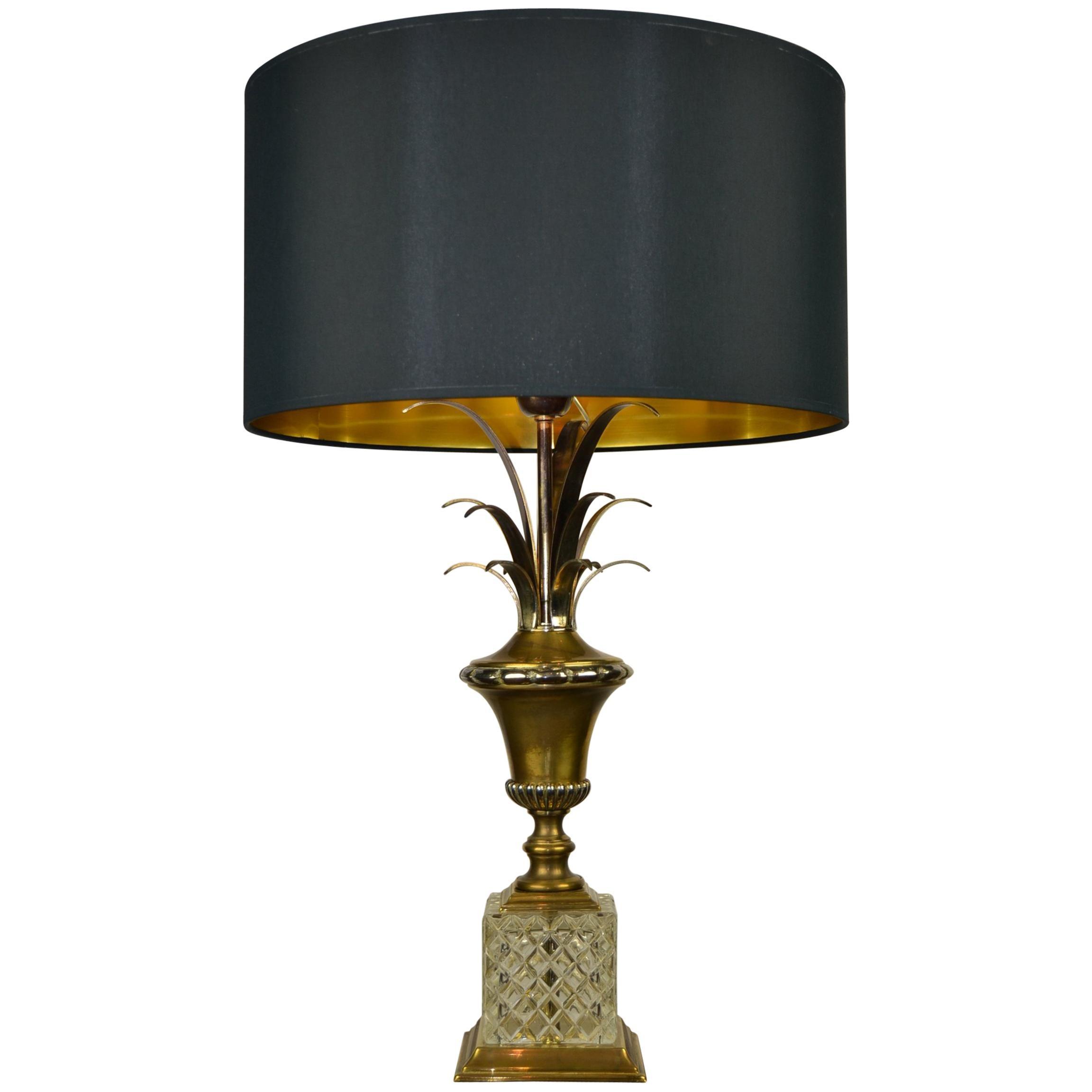 Hollywood Regency Pineapple Leaf Table Lamp, Gilt Brass and Crystal, France