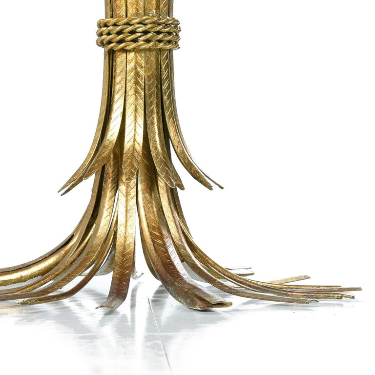 Hollywood Regency Gilt Brass Blossoming Wheat Sheaf Cocktail Table Side Table In Excellent Condition For Sale In Saint Petersburg, FL