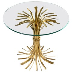 Hollywood Regency Gilt Brass Blossoming Wheat Sheaf Cocktail Table Side Table