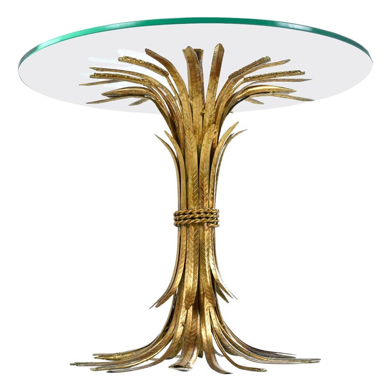 Hollywood Regency Gilt Brass Blossoming Wheat Sheaf Cocktail Table Side Table For Sale