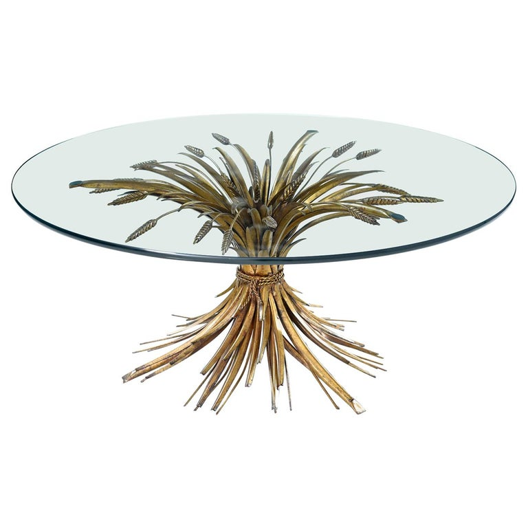 Hollywood Regency Gilt Brass Blossoming Wheat Sheaf Coffee Table For Sale