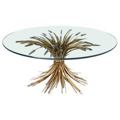Hollywood Regency Gilt Brass Blossoming Wheat Sheaf Coffee Table