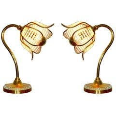 Hollywood Regency Gilt Brass Crystal Bakalowits Sunburst Flower Table Lamps Pair