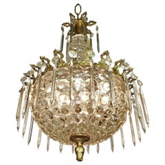 Hollywood Regency Gilt Bronze and Thick Glass, Crystal Teardrop Chandelier