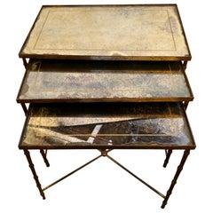 Hollywood Regency Gilt Bronze Églomisé Glass Top Nest of Tables Style Jansen