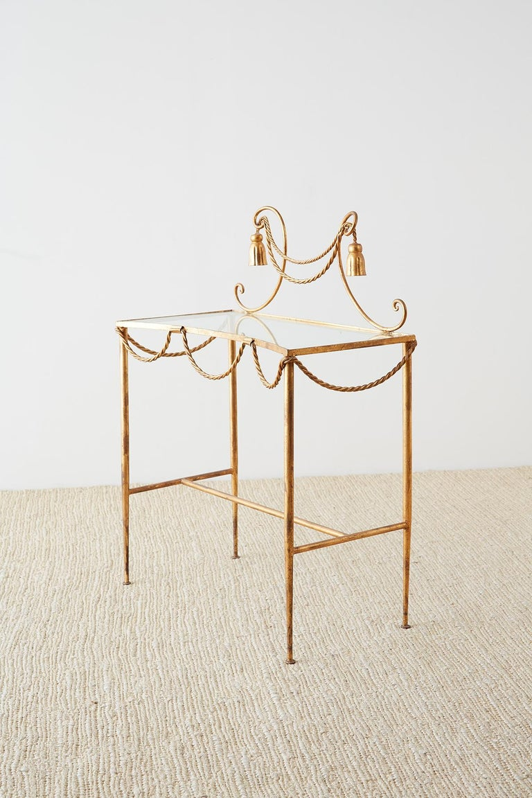 Hollywood Regency Gilt Iron and Faux Rope Vanity For Sale 5