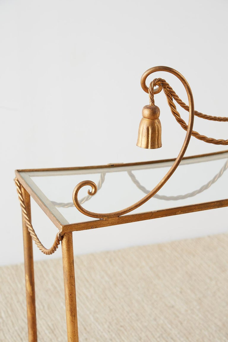 Hollywood Regency Gilt Iron and Faux Rope Vanity For Sale 7