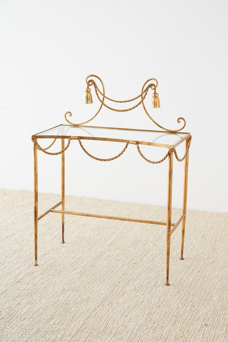 Italian Hollywood Regency Gilt Iron and Faux Rope Vanity For Sale