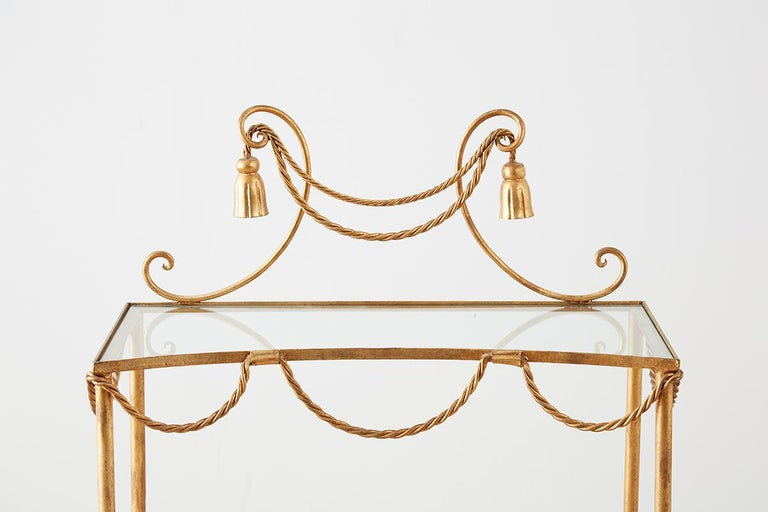 Hand-Crafted Hollywood Regency Gilt Iron and Faux Rope Vanity For Sale