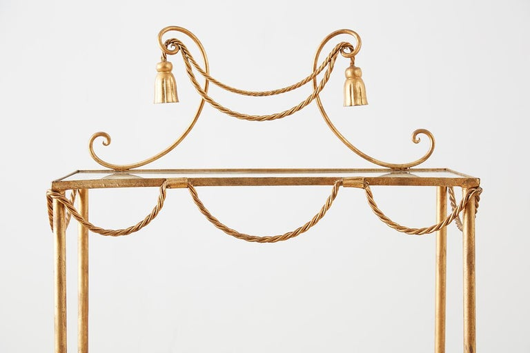20th Century Hollywood Regency Gilt Iron and Faux Rope Vanity For Sale
