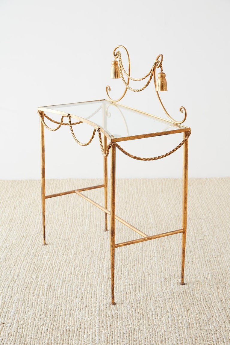 Glass Hollywood Regency Gilt Iron and Faux Rope Vanity For Sale