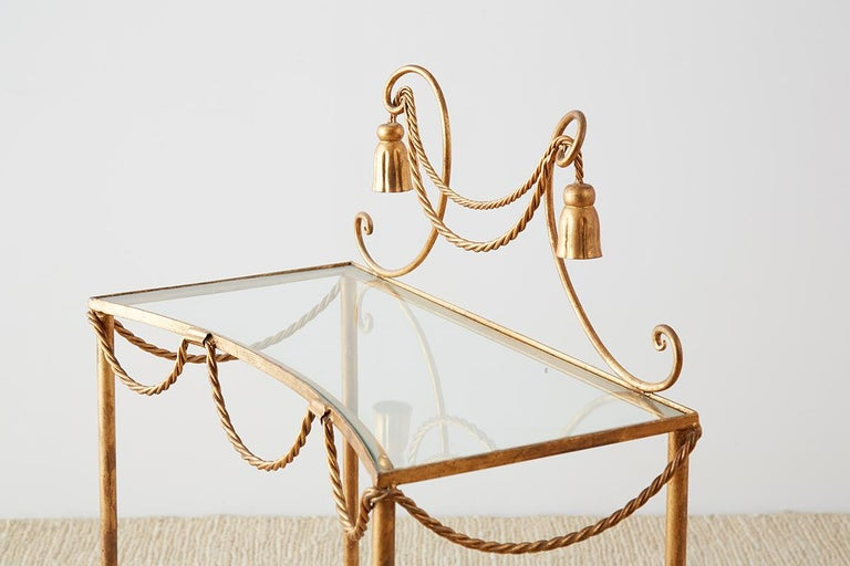 Hollywood Regency Gilt Iron and Faux Rope Vanity For Sale 2
