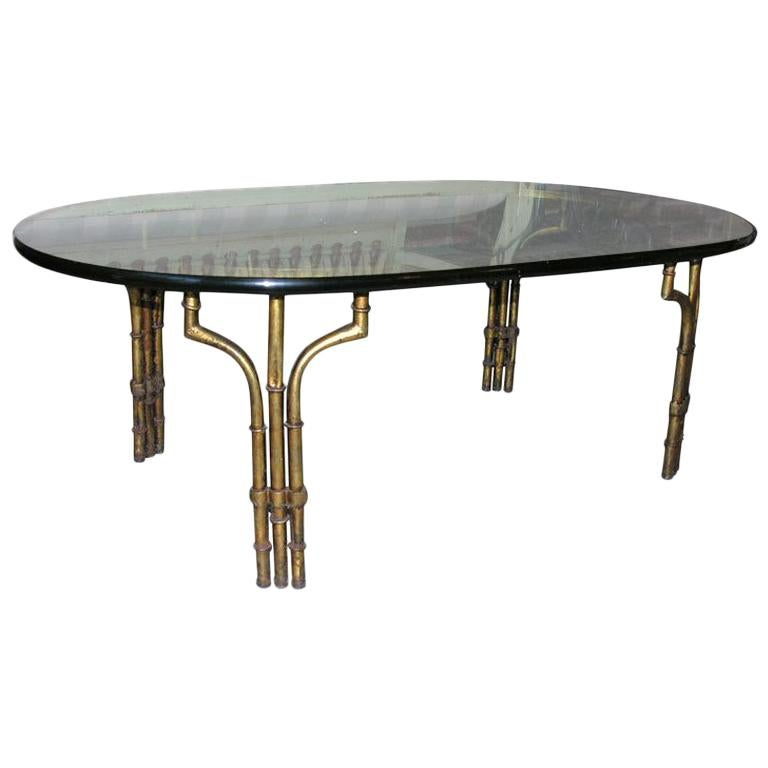 Hollywood Regency Gilt Iron and Glass Faux Bamboo Coffee Table For Sale