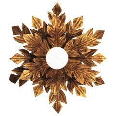 Hollywood Regency Gilt Iron Flower Burst Flushmount or Wall Light, Spain, 1950s