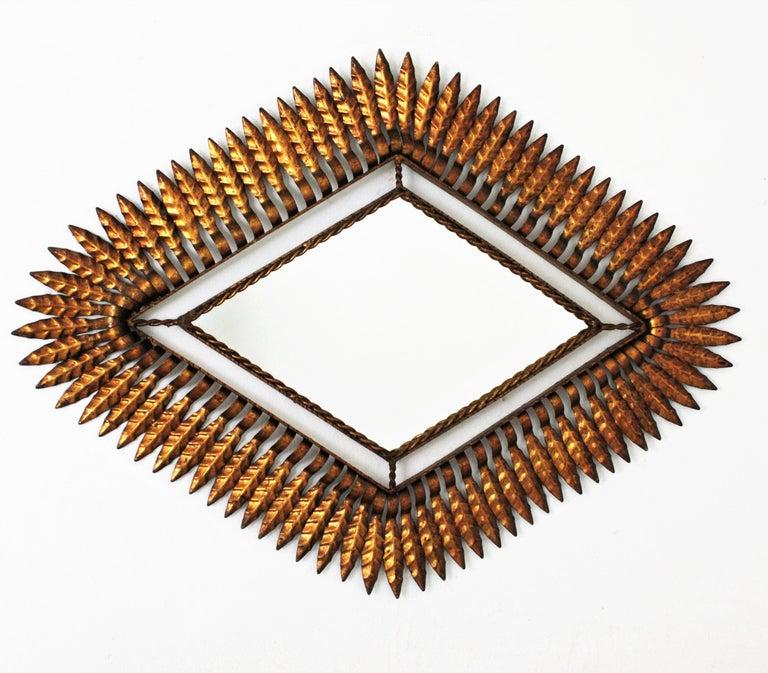Hollywood Regency Gilt Iron Leafed Rhombus Sunburst Mirror, Spain, 1950s For Sale 2