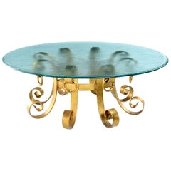 Hollywood Regency Gilt Iron Scroll Knocker Rippled Glass Top Coffee Table