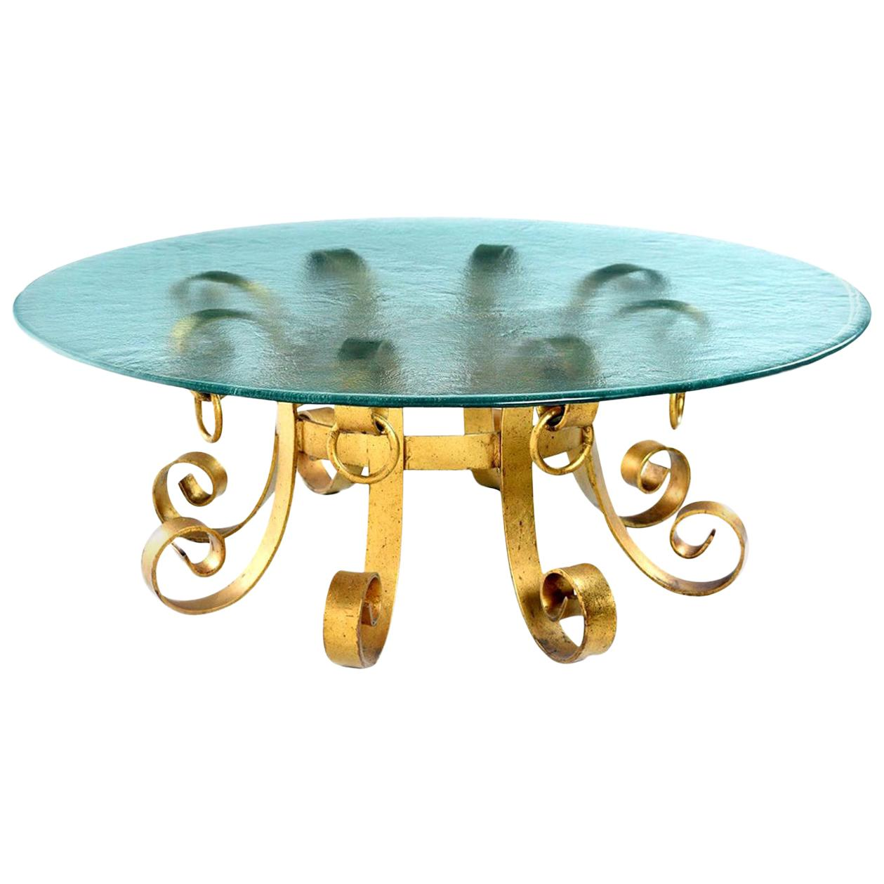 Hollywood Regency Gilt Iron Scroll Knocker Rippled Glass Top Coffee Table