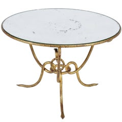 Hollywood Regency Gilt Iron Table Mirrored Top René Drouet, circa 1950s