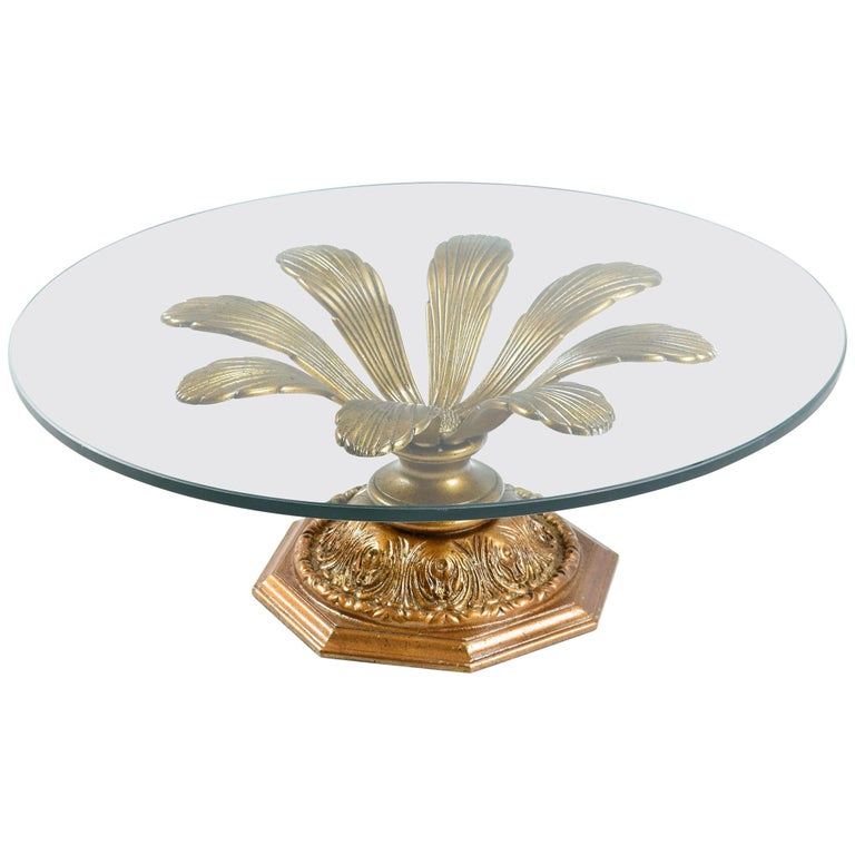Flower Coffee Table.Hollywood Regency Gilt Metal Blossoming Flower Petal Glass Top Coffee Table
