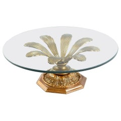 Hollywood Regency Gilt Metal Blossoming Flower Petal Glass Top Coffee Table