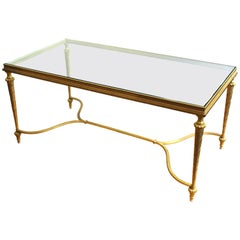 Hollywood Regency Gilt Metal Coffee Table with Glass Top