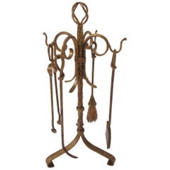 Hollywood Regency Gilt Metal Fireplace Tools with Stand, circa 1940s