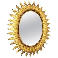 Sunburst Oval Mirror in Gilt Metal, 1950s