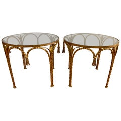 Hollywood Regency Gilt Metal Rope and Tassel Glass Tables