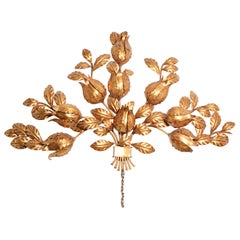 Hollywood Regency Gilt Metal Wall Sconce, by S. Salvadori, Italy, 1950s