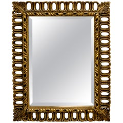 Hollywood Regency Gilt Ring Motif Mirror