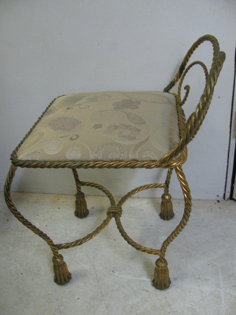 Italian Hollywood Regency Gilt Rope and Tassel Vanity Chair Italy For Sale