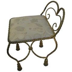 Hollywood Regency Gilt Rope and Tassel Vanity Chair Italy