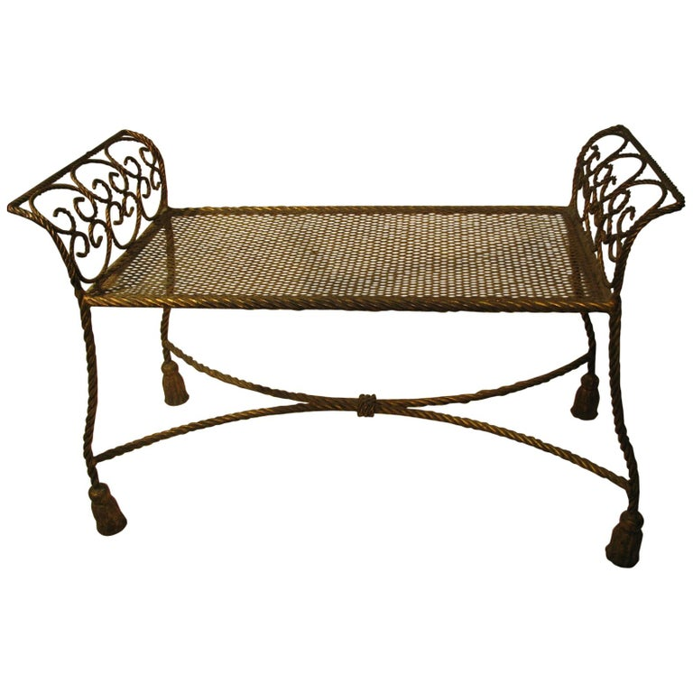 Hollywood Regency Gilt Rope and Tassel Vanity Seat Window Bench For Sale