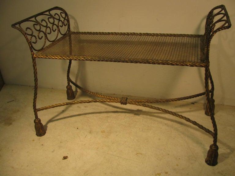 Italian Hollywood Regency Gilt Rope and Tassel Vanity Seat Window Bench For Sale