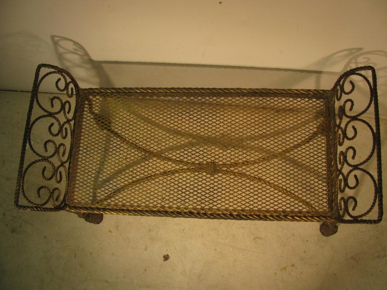 Hollywood Regency Gilt Rope and Tassel Vanity Seat Window Bench For Sale 2