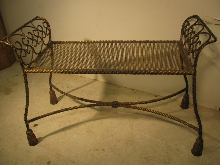 Hollywood Regency Gilt Rope and Tassel Vanity Seat Window Bench For Sale 3