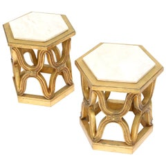 Hollywood Regency Gilt Side Tables with Calacatta Marble Top