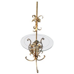 Hollywood Regency Gilt Tole Ware Floor Lamp with Table