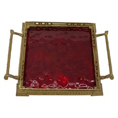 Hollywood Regency Gilt Vanity Tray with Red Glass Insert and Handles
