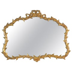 Hollywood Regency Giltwood Bow and Leaf Wall Mirror