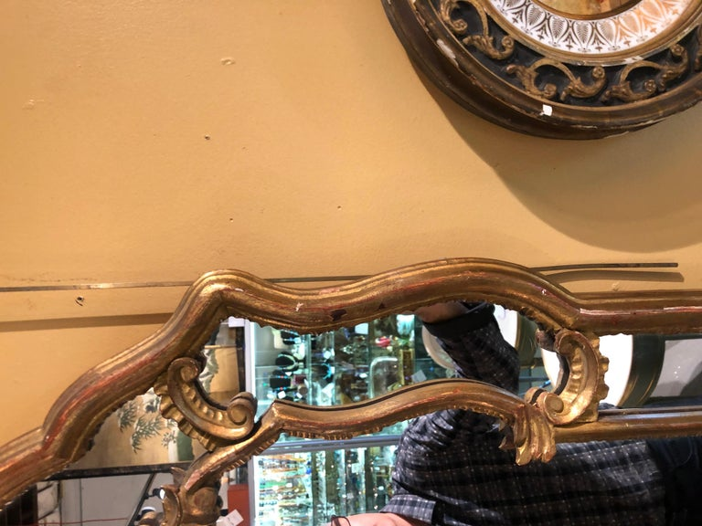 Hollywood Regency Giltwood French Shell Carved Wall or Console Mirrors, a Pair For Sale 5