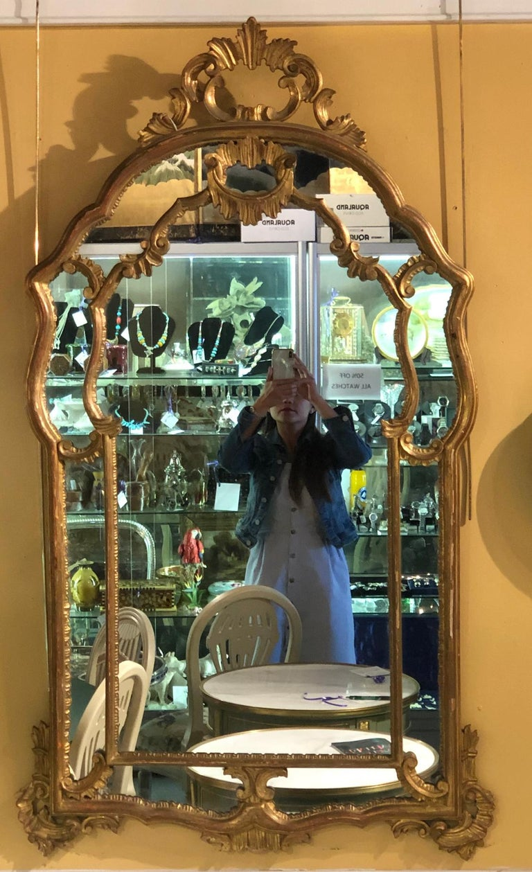 Louis XVI Hollywood Regency Giltwood French Shell Carved Wall or Console Mirrors, a Pair For Sale