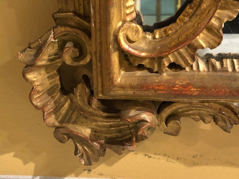 Hollywood Regency Giltwood French Shell Carved Wall or Console Mirrors, a Pair For Sale 1