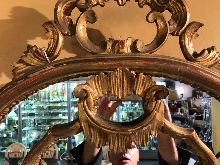 Hollywood Regency Giltwood French Shell Carved Wall or Console Mirrors, a Pair For Sale 2