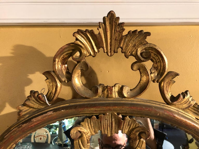 Hollywood Regency Giltwood French Shell Carved Wall or Console Mirrors, a Pair For Sale 3